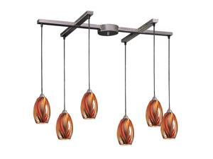 6 Light Pendant In Satin Nickel And Multi Glass