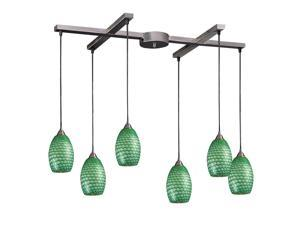6 Light Pendant In Satin Nickel And Jade Glass