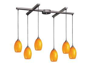 6 Light Pendant In Satin Nickel And Canary Glass
