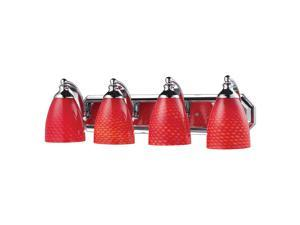 4 Light Vanity In Polished Chrome And scarlet Red Glass