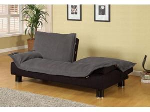 Elegant Grey Microfiber Futon Sofa Bed Couch Sleeper by Coaster Furniture