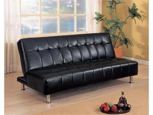 Black Leather like Vinyl Futon Sofa Bed by Coaster Furniture