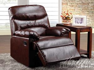 Arcadia Recliner w/ Glider in Cracked Brown Bonded Leather by Acme Furniture
