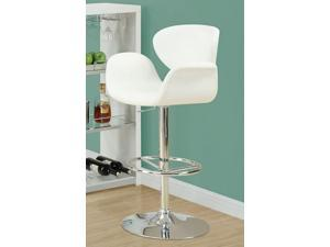 White / Chrome Metal Hydraulic Lift Barstool by Monarch