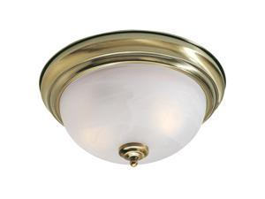 North Port Collection Ceiling Mount Fixture with White Alabaster Glass in Antique Brass by Livex
