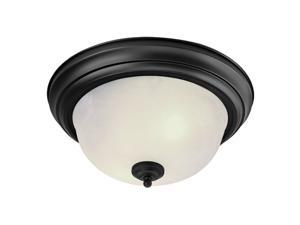 North Port Collection Ceiling Mount Fixture with White Alabaster Glass in Black by Livex