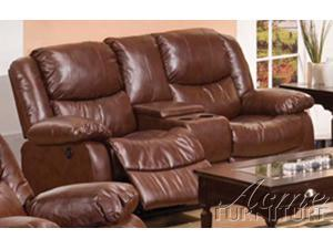 Fullerton Loveseat w/ Power Motion and Console in Brown Bonded Leather by Acme Furniture