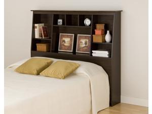 Espresso Tall Double / Queen Bookcase Headboard By Prepac
