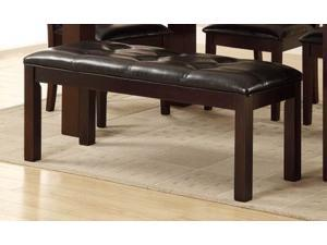 Bench w/Black Leather Upholstered Seat in Espresso Color Finish by Homelegance