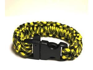 Survival Bracelet w/Whistle - Yellow/Bla