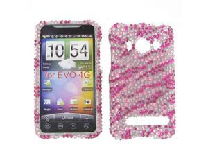 HTC Evo 4G Full Diamond Hot Pink Zebra Protective Case