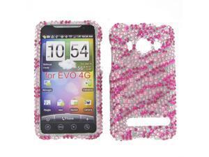HTC Evo 4G Full Diamond Hot Pink Zebra Protective Case