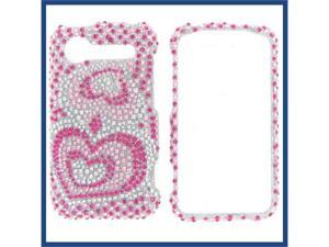 HTC Incredible S / Incredible 2 Full Diamond Pink Silver Heart Protective Case