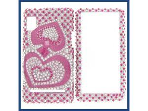 Motorola A955/A956 (Droid 2) Full Diamond Pink Silver Heart Protective Case