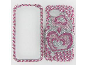 HTC ADR6425 (Rezound) Full Diamond Pink silver Heart Protective Case