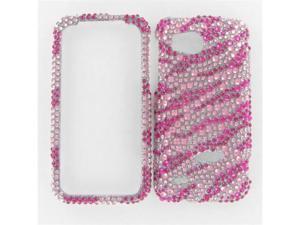 HTC ADR6425 (Rezound) Full Diamond Hot Pink Zebra Protective Case