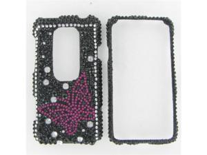 HTC Evo 3D Full Diamond Black with Hot Pink Butterfly Protective Case