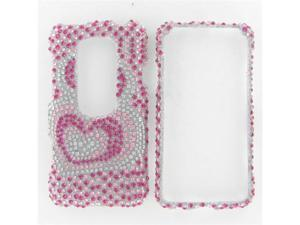 HTC Evo 3D Full Diamond Pink Silver Heart Protective Case