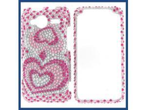 HTC Evo Shift 4G Full Diamond Pink silver Heart Protective Case