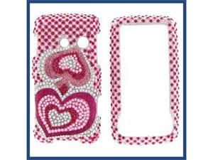 LG LN510 (Rumor Touch) Full Diamond Pink Silver Heart Protective Case