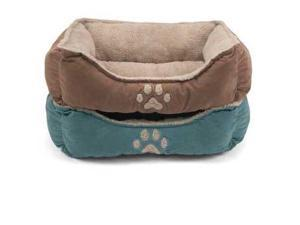 "Brinkmann Suede Paw Print Box Bed 21""x25""Blue"