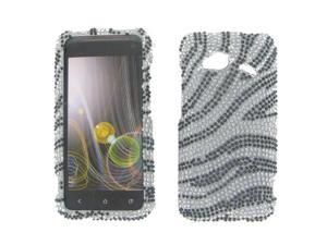 HTC 6410 Fireball Droid Incredible 4G LTE Full Diamond Silver Zebra Protective Case