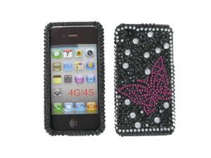 HTC Evo 4G Full Diamond Black with Hot Pink Butterfly Protective Case