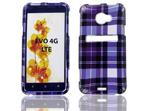 HTC Evo 4G LTE Purple Plaid Protective Case