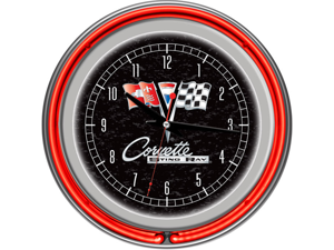 Corvette C2 Black Chrome Double Ring Neon Clock