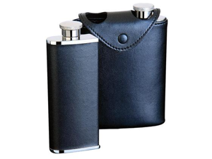Dos Black Leather 6oz Hip Flask (Two 3oz Flasks in Case)