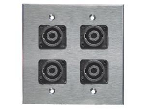 Stainless Steel Speakon Wall Plate Neutrik Dual Gang 4-pin