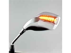 EMARK fist LED turn signal 10mm M10 thread chrome color universal motorcycle mirrors (A Pair)