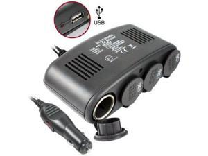 5 in 1 Universal Car Charger - 4 port 12V DC Auto Socket Duplicator with USB Port