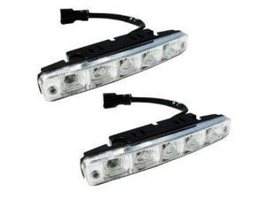 Absolute DRL5AW Universal DRL LED Daytime Running Lamp with 5 Super White Bright Leds Kits