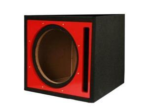 "Absolute Pseb10rd (Red/black) Single 10"" Ported Subwoofer Enclosure w/ Red High Gloss Face Board"