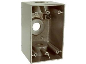 BWF B-75V Single Gang Outlet Box with 3 Threaded Outlets, Gray