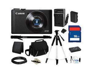 Canon Everything You Need Kit 6351B001, PowerShot S110 Black Approx. 12.1 MP 5X Optical Zoom 24mm Wide Angle Digital Camera ...
