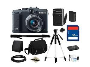 Canon PowerShot G15 Black Approx. 12.1 MP 5X Optical Zoom 28mm Wide Angle Digital Camera HDTV Output, Everything You Need ...