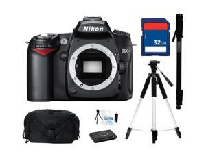 Nikon D90 Black 12.3 MP Digital SLR Camera - Body Only, Everything You Need Kit, 25446