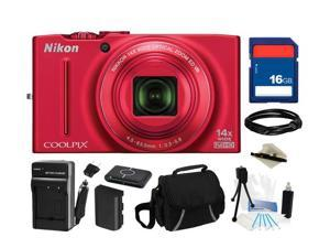 Nikon Coolpix S8200 16.1 MP (Red) 14X Optical Zoom 25mm Wide Angle Digital Camera HDTV Output, Everything You Need Kit, 26289
