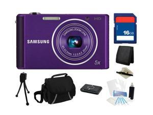 SAMSUNG ST76 16.1 MP (Purple) 5X Optical Zoom 25mm Wide Angle Digital Camera, Everything You Need Kit, EC-ST76ZZFPLUS