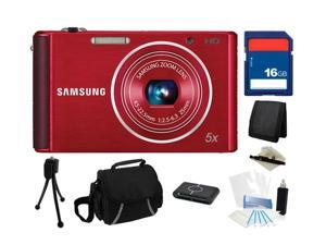 SAMSUNG ST76 16.1 MP (Red) 5X Optical Zoom 25mm Wide Angle Digital Camera, Everything You Need Kit, EC-ST76ZZFPRUS