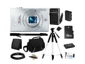 Canon ELPH 520 HS Silver 10.1 MP 12X Optical Zoom 28mm Wide Angle Digital Camera HDTV Output, Everything You Need Kit, 6166B001