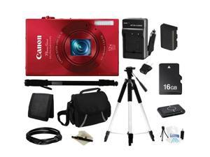 Canon ELPH 520 HS Red 10.1 MP 12X Optical Zoom 28mm Wide Angle Digital Camera HDTV Output, Everything You Need Kit, 6171B001