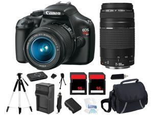 Canon EOS Rebel T3 Digital Camera w/ 18-55mm + 75-300mm Lens + 32GB Bundle Kit