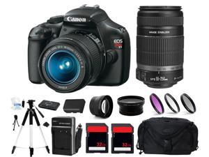 Canon EOS Rebel T3 1100D DSLR Camera + 4 Lens Kit 18-55 & 55-250 + 64GB Bundle