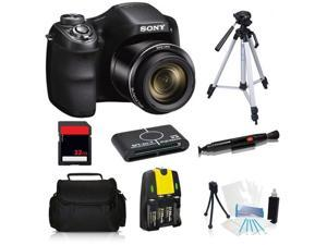 Sony Cyber-Shot DSC-H200 20.1 MP Digital Camera + 32GB Essential Kit with Tripod