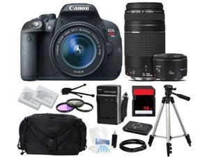 Canon EOS Rebel T5i 700D SLR Camera 18-55mm + 75-300mm + 50mm f/1.8 (3 Lens Kit)