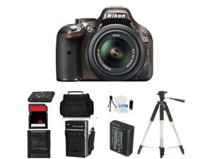 Nikon D5200 Digital SLR Camera & 18-55mm Body Beginner Birthday Bundle (Bronze)