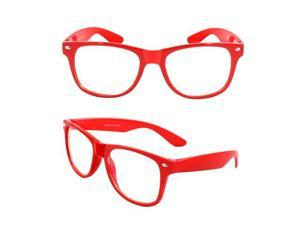 Stylish Wayfarer Sunglasses Red Design with Clear Lenses for Women and Men